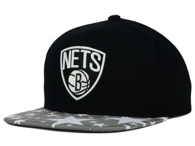 Brooklyn Nets Mitchell and Ness NBA Reflective Star Pattern 2 Tone Snapback Cap