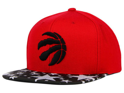 Toronto Raptors Mitchell and Ness NBA Reflective Star Pattern 2 Tone Snapback Cap