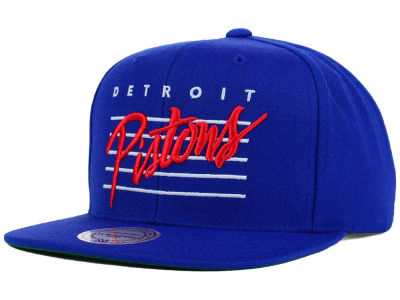 Detroit Pistons Mitchell and Ness NBA Cursive Retro Snapback Cap