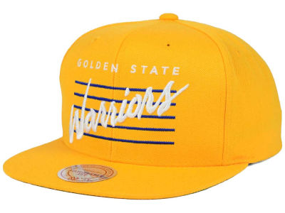 Golden State Warriors Mitchell & Ness NBA Cursive Retro Snapback Cap