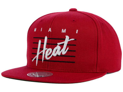 Miami Heat Mitchell and Ness NBA Cursive Retro Snapback Cap