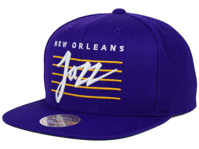 New Orleans Jazz Mitchell and Ness NBA Cursive Retro Snapback Cap