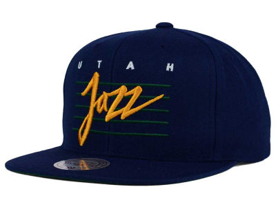 Utah Jazz Mitchell and Ness NBA Cursive Retro Snapback Cap