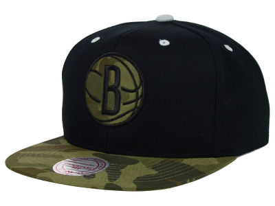 Brooklyn Nets Mitchell and Ness NBA Camo Visor 2 Tone Snapback Cap