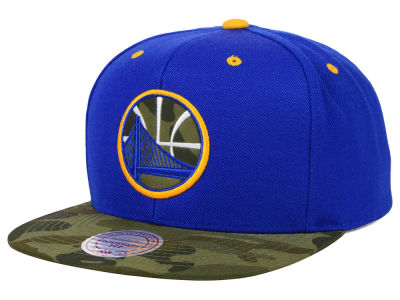 Golden State Warriors Mitchell and Ness NBA Camo Visor 2 Tone Snapback Cap