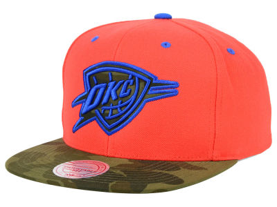 Oklahoma City Thunder Mitchell and Ness NBA Camo Visor 2 Tone Snapback Cap