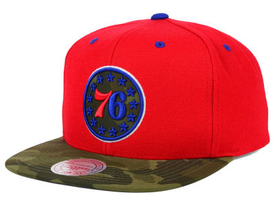 Philadelphia 76ers Mitchell and Ness NBA Camo Visor 2 Tone Snapback Cap