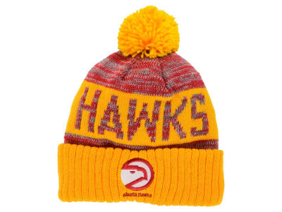 Atlanta Hawks Mitchell and Ness NBA Team Color Jacquard Stripe Pom Knit
