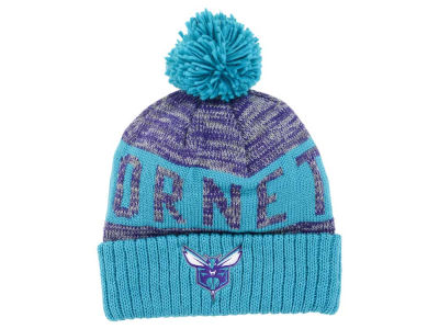 Charlotte Hornets Mitchell & Ness NBA Team Color Jacquard Stripe Pom Knit