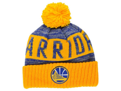 Golden State Warriors Mitchell and Ness NBA Team Color Jacquard Stripe Pom Knit