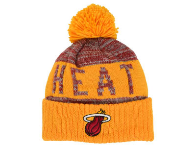 Miami Heat Mitchell and Ness NBA Team Color Jacquard Stripe Pom Knit