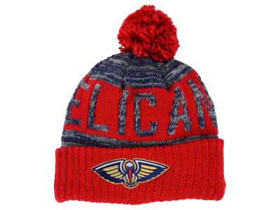 New Orleans Pelicans Mitchell and Ness NBA Team Color Jacquard Stripe Pom Knit