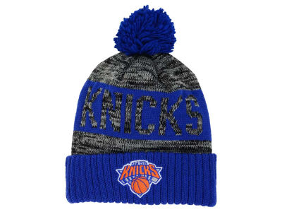 New York Knicks Mitchell and Ness NBA Team Color Jacquard Stripe Pom Knit
