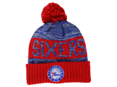 Philadelphia 76ers Mitchell and Ness NBA Team Color Jacquard Stripe Pom Knit