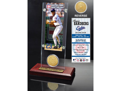 Chicago Cubs Ryne Sandberg Ticket and Coin Acrylic