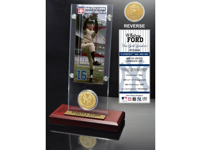 New York Yankees Whitey Ford Ticket and Coin Acrylic