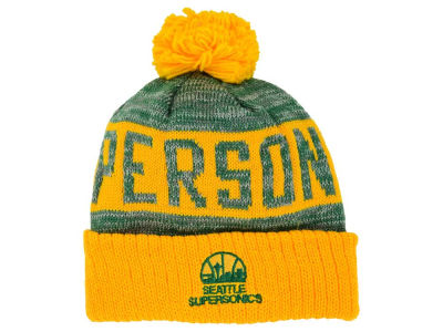 Seattle SuperSonics Mitchell and Ness NBA Team Color Jacquard Stripe Pom Knit