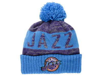 Utah Jazz Mitchell & Ness NBA Team Color Jacquard Stripe Pom Knit