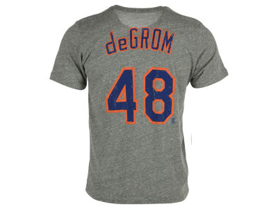 New York Mets Jacob deGrom Majestic MLB Men's Triblend Jersey Player T-Shirt