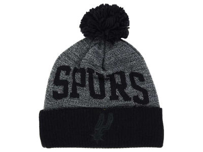 San Antonio Spurs Mitchell and Ness NBA Blackout High 5 Cuffed Pom Knit