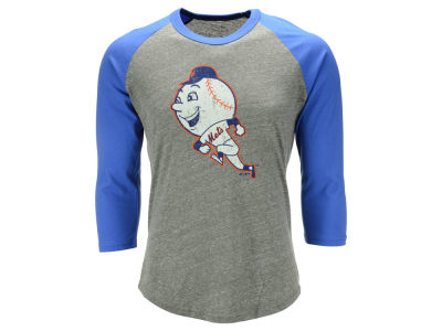 New York Mets Majestic MLB Men's Triblend Heather Logo Raglan T-Shirt