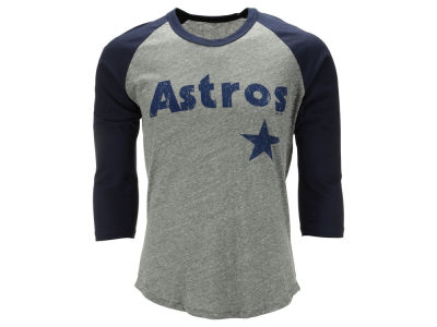 Houston Astros Majestic MLB Men's Heather Logo Triblend Raglan Shirt