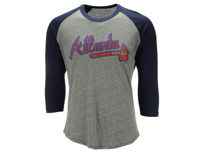 Atlanta Braves Majestic MLB Men's Heather Logo Triblend Raglan Shirt