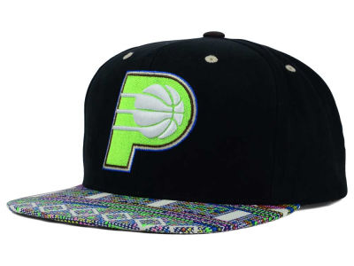Indiana Pacers Mitchell and Ness NBA Tribal BW Snapback Cap
