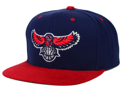 Atlanta Hawks Mitchell and Ness NBA 2 Tone Suede Strapback Cap