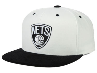 Brooklyn Nets Mitchell and Ness NBA 2 Tone Suede Strapback Cap