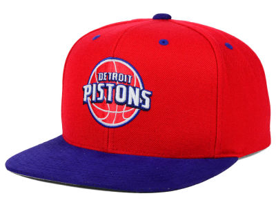 Detroit Pistons Mitchell and Ness NBA 2 Tone Suede Strapback Cap