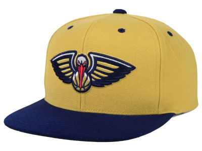 New Orleans Pelicans Mitchell and Ness NBA 2 Tone Suede Strapback Cap