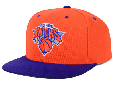 New York Knicks Mitchell and Ness NBA 2 Tone Suede Strapback Cap
