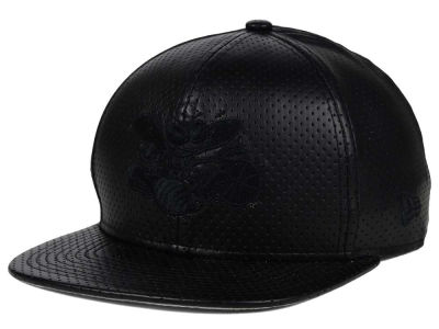 Charlotte Hornets New Era NBA HWC Black on Black Perforated Leather 9FIFTY Snapback Cap