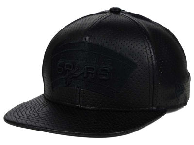 San Antonio Spurs New Era NBA HWC Black on Black Perforated Leather 9FIFTY Snapback Cap