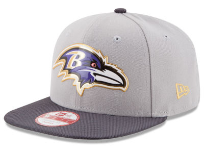 Baltimore Ravens New Era NFL Gold Collection Gray 9FIFTY Original Fit Snapback Cap