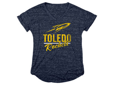 Toledo Rockets Blue 84 NCAA Women's Confetti V-Neck T-Shirt