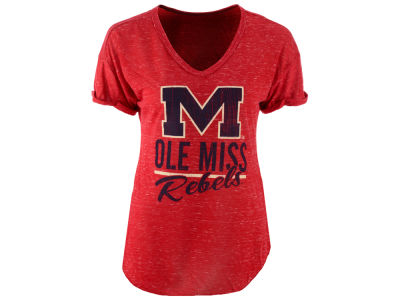 Ole Miss Rebels Blue 84 NCAA Women's Confetti V-Neck T-Shirt