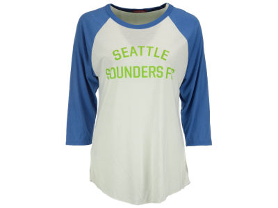 Seattle Sounders FC Mitchell and Ness MLS Women's Team Issued Raglan 3/4 Sleeve T-Shirt
