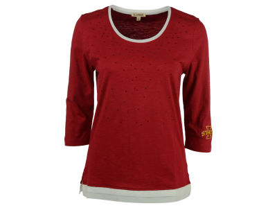 Iowa State Cyclones NCAA Women's Plus Size Scattered Rhinestone 3/4 Sleeve T-Shirt