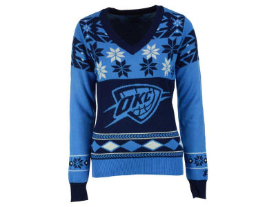 Oklahoma City Thunder La Tilda NBA Women's Big Logo V-Neck Sweater