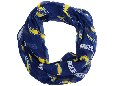 Los Angeles Chargers All Over Logo Infinity Wrap Scarf