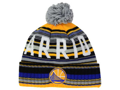 Golden State Warriors Mitchell and Ness NBA G-Super Stripe Pom Knit