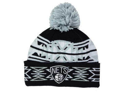 Brooklyn Nets Mitchell and Ness NBA Black Geotech Cuffed Pom Knit