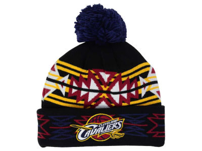 Cleveland Cavaliers Mitchell and Ness NBA Black Geotech Cuffed Pom Knit