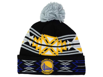 Golden State Warriors Mitchell and Ness NBA Black Geotech Cuffed Pom Knit