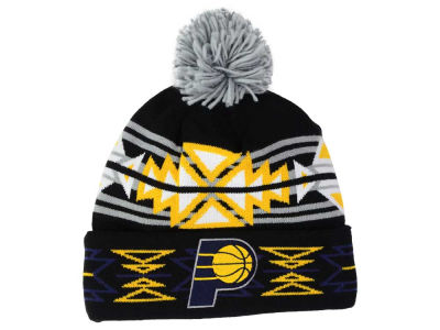 Indiana Pacers Mitchell and Ness NBA Black Geotech Cuffed Pom Knit