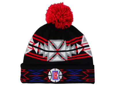 Los Angeles Clippers Mitchell and Ness NBA Black Geotech Cuffed Pom Knit