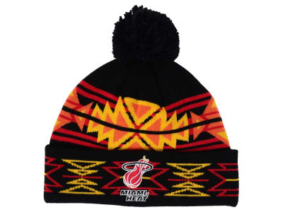 Miami Heat Mitchell & Ness NBA Black Geotech Cuffed Pom Knit