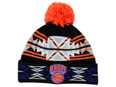 New York Knicks Mitchell and Ness NBA Black Geotech Cuffed Pom Knit
